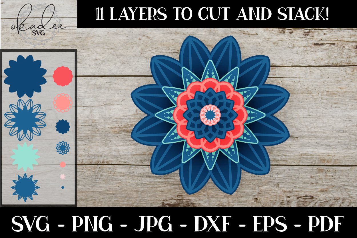 Download Free 3d Mandala Layered Flower Graphic By Okadee Svg Creative Fabrica for Cricut Explore, Silhouette and other cutting machines.