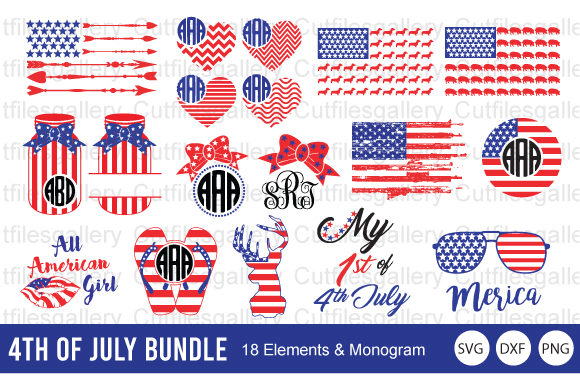 4th of July Bundle, America Flag   Graphic Crafts By cutfilesgallery