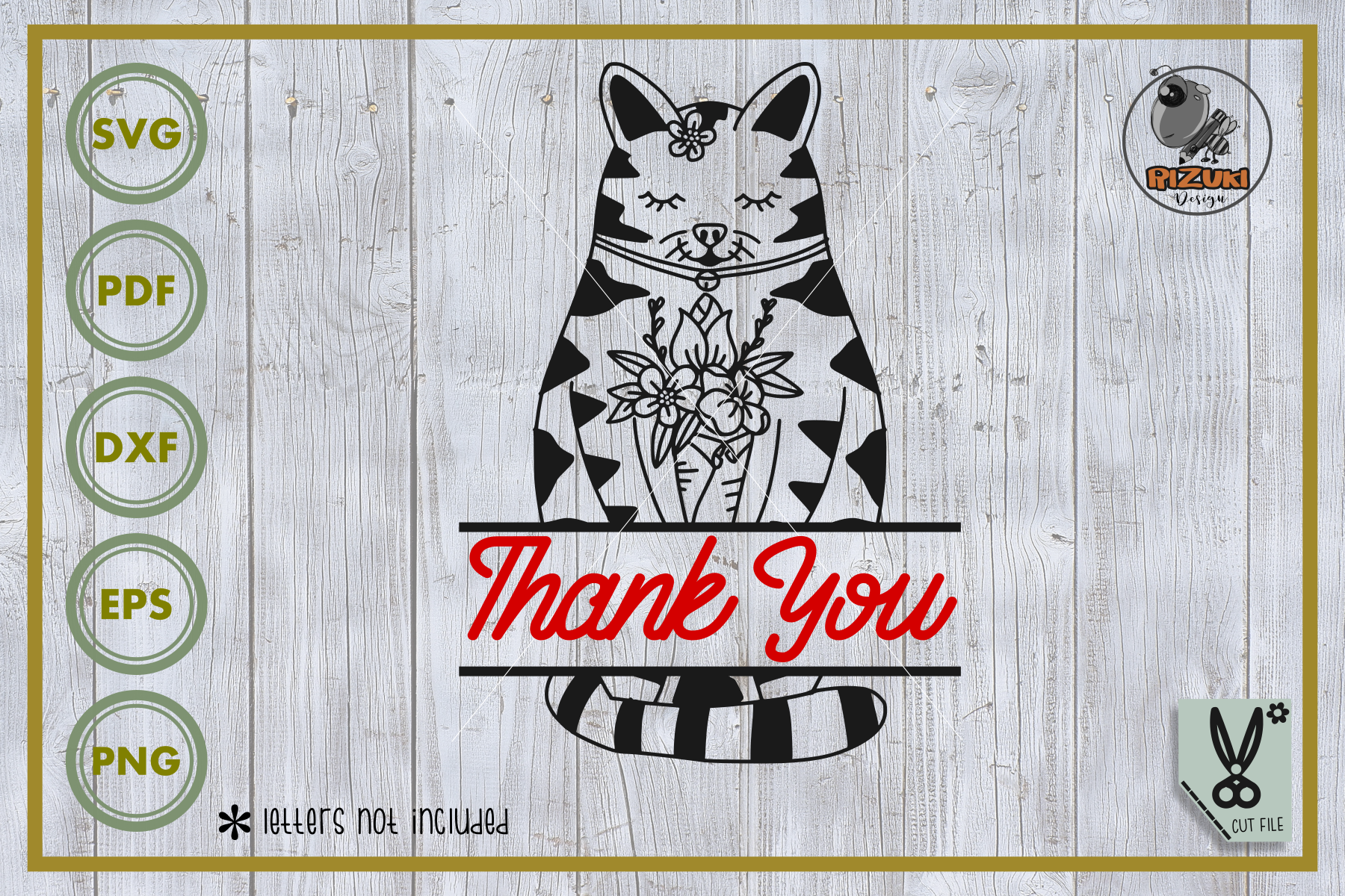 Download Free Animal Cat Cat With Flower Graphic By Rizuki Store Creative for Cricut Explore, Silhouette and other cutting machines.