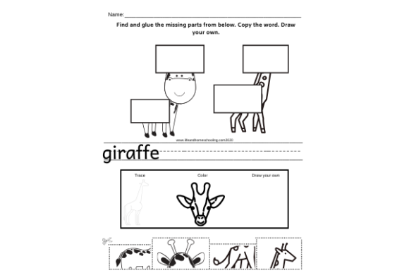 Animal Printable Activity Graphic PreK By lifeandhomeschooling