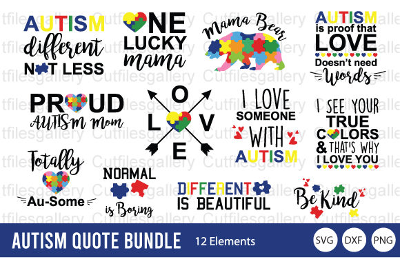 Autism Quote Bundle  Graphic Crafts By cutfilesgallery