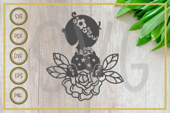 Download Free Baby Baby With Flower Silhouette Graphic By Rizuki Store for Cricut Explore, Silhouette and other cutting machines.