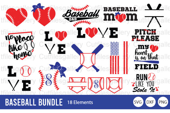 Download Free Baseball Bundle Softball Bundle Graphic By Cutfilesgallery for Cricut Explore, Silhouette and other cutting machines.