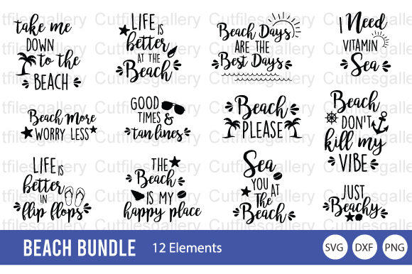 Download Free Beach Bundle Summer Bundle Graphic By Cutfilesgallery for Cricut Explore, Silhouette and other cutting machines.