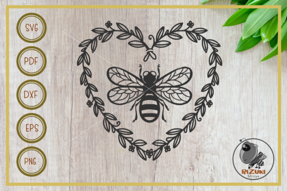 Bee, Bee with Love Wreath Silhouette Graphic Crafts By RIZUKI Store