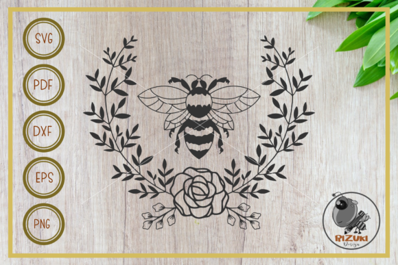 Download Free Bee Bee With Wreath Silhouette Graphic By Rizuki Store for Cricut Explore, Silhouette and other cutting machines.