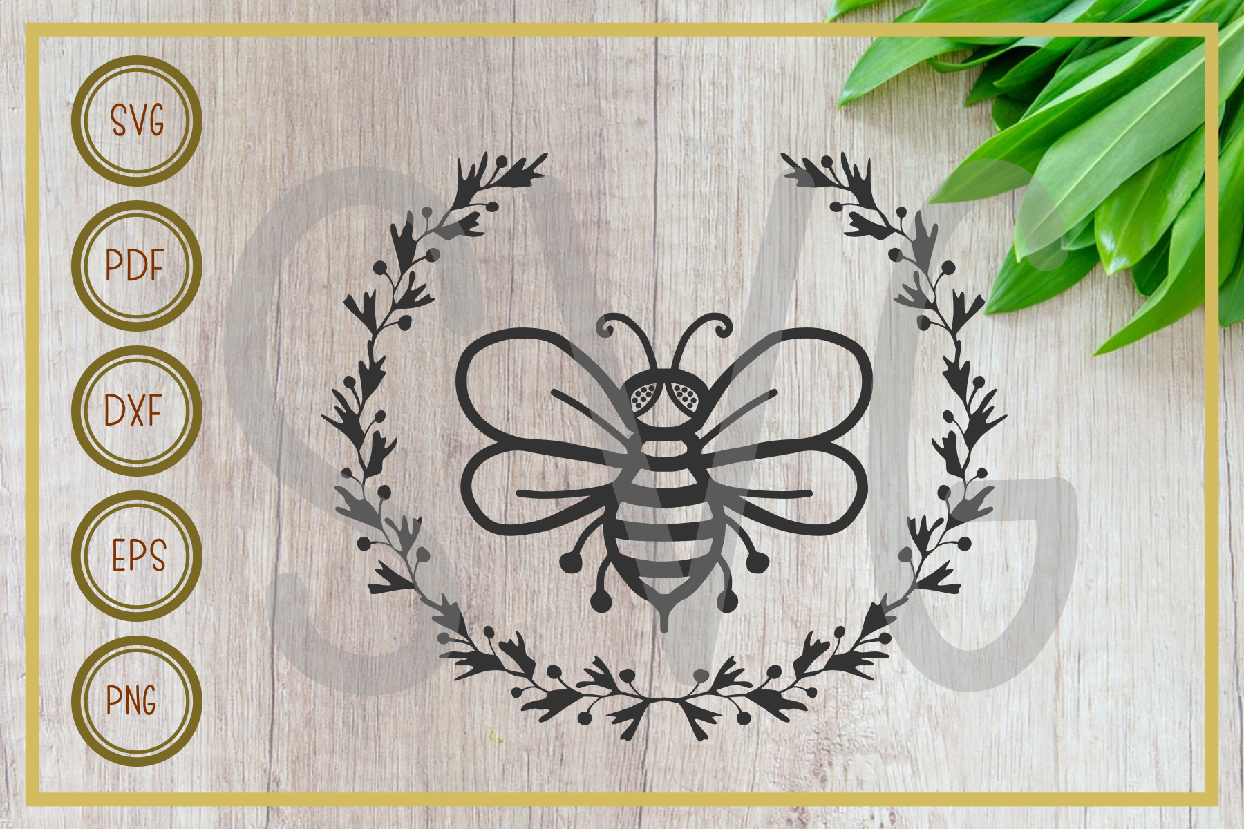 Bee, Bee with Wreath Silhouette SVG File