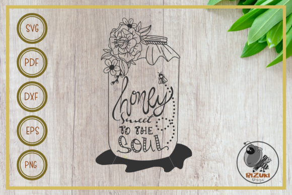 Download Free Bee Honey Sweet With Flower Graphic By Rizuki Store Creative for Cricut Explore, Silhouette and other cutting machines.