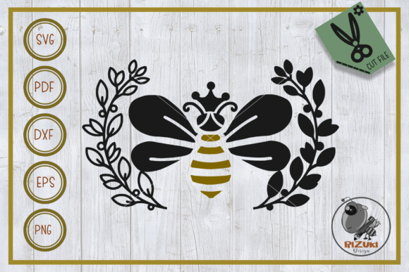Bee Bee Queen With Wreath Silhouette Graphic By Rizuki Store Creative Fabrica