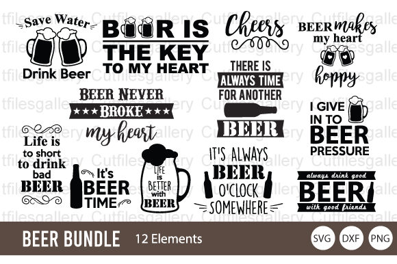 Download Free Beer Bundle Graphic By Cutfilesgallery Creative Fabrica for Cricut Explore, Silhouette and other cutting machines.