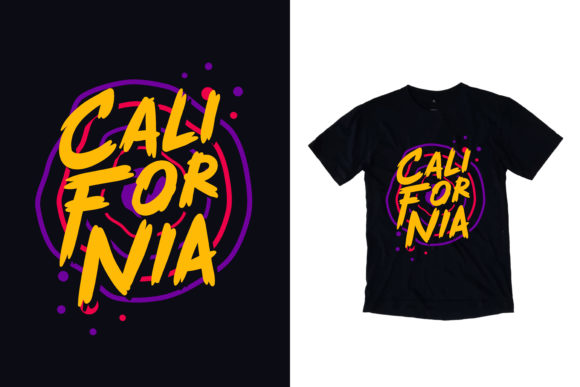 Black T-Shirt California Graphic Print Templates By yazriltri