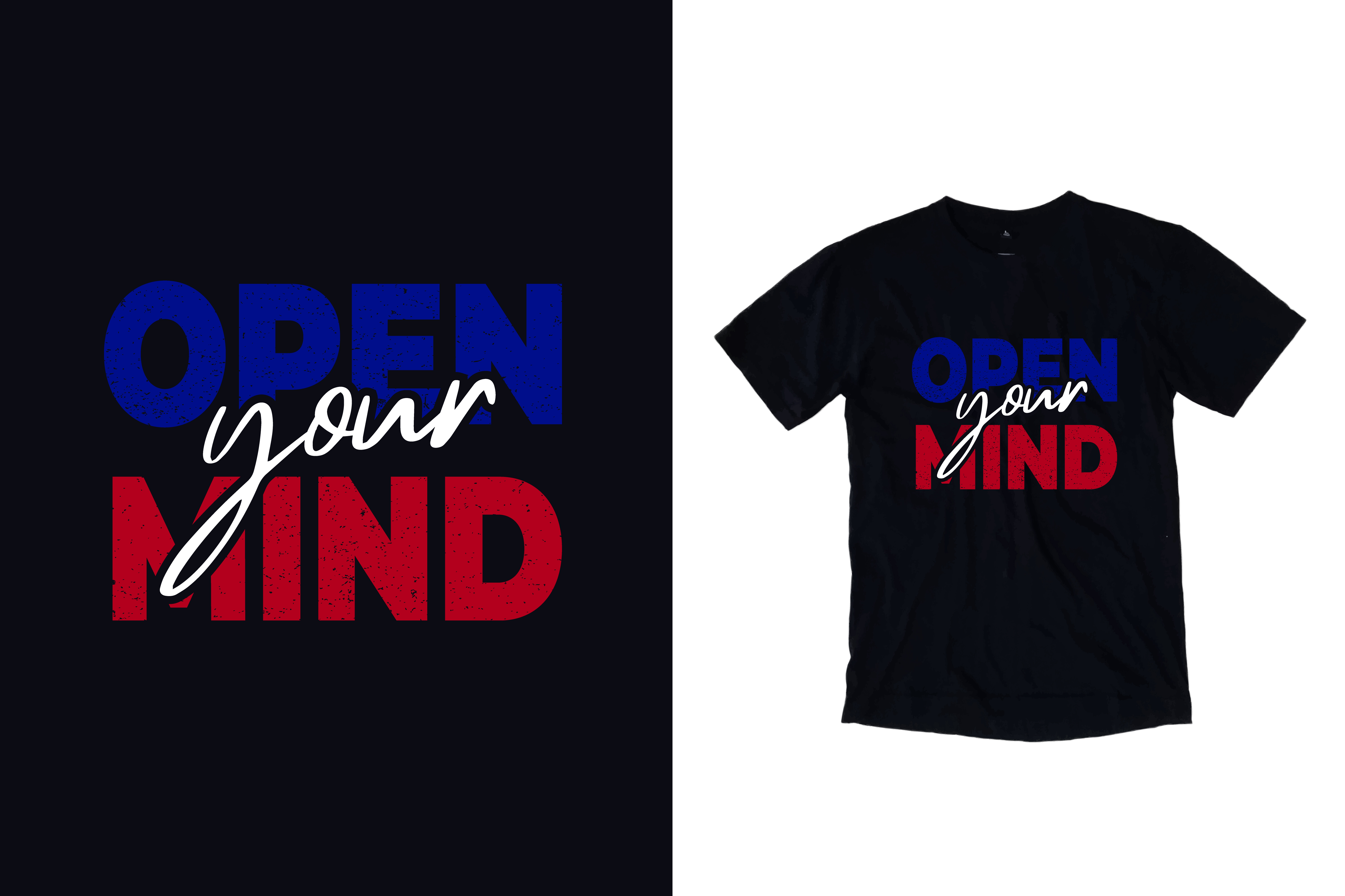 Download Free Black T Shirt Open Your Mind Quotes Graphic By Yazriltri for Cricut Explore, Silhouette and other cutting machines.