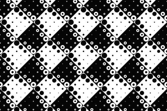 Black and White Seamless Circle Pattern Graphic Patterns By davidzydd