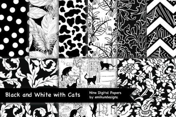 Black and White Patterns and Cats Graphic Patterns By emikundesigns