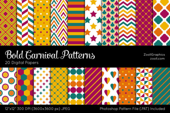 Download Free Bold Carnival Colorful Digital Papers Graphic By Zoollgraphics for Cricut Explore, Silhouette and other cutting machines.