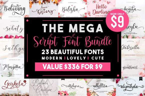 The Mega Script Font Bundle  By MJB Letters