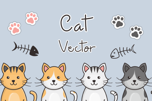Print on Demand: Cat Vector Illustration Graphic Illustrations By nuraisyahamalia1729