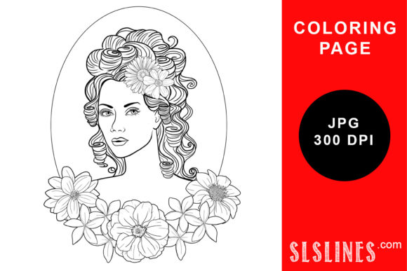 Print on Demand: Classical Style Lady Coloring Page Graphic Coloring Pages & Books Adults By SLS Lines