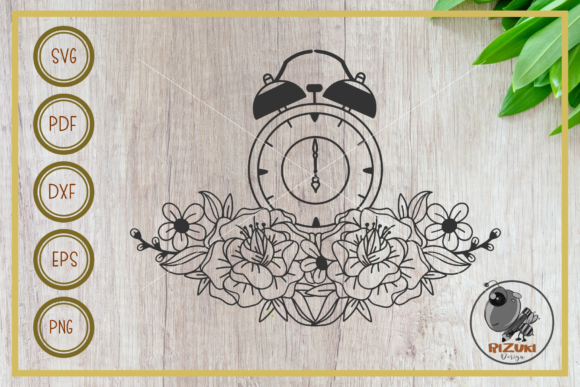 Download Free Clock Clock With Flower Cut File Graphic By Rizuki Store for Cricut Explore, Silhouette and other cutting machines.