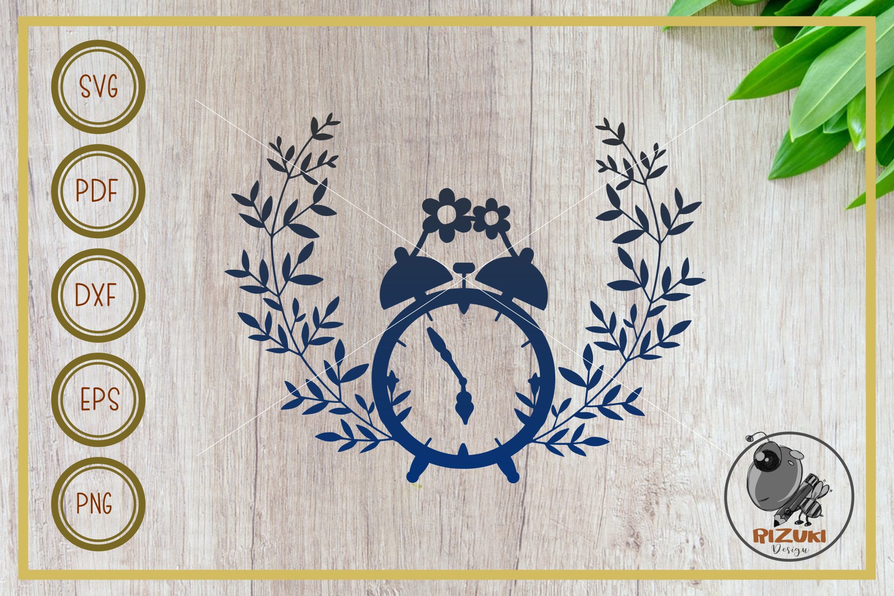 Download Free Clock Clock With Wreath Cut File Graphic By Rizuki Store for Cricut Explore, Silhouette and other cutting machines.