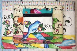 Coloring Book Zipper Bag - Birds Accessories Embroidery Design By Sookie Sews
