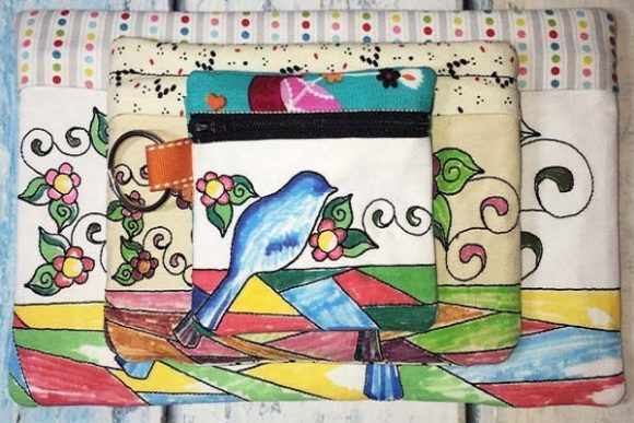 Coloring Book Zipper Bag - Birds Accessories Embroidery Design By Sue O'Very Designs