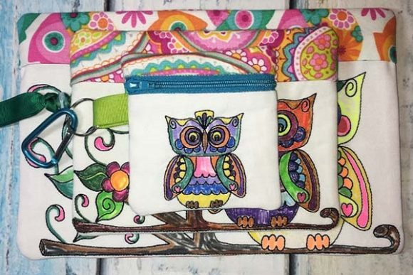 Coloring Book Zipper Bag - Owl Accessories Embroidery Design By Sue O'Very Designs