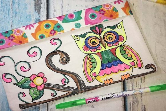 Coloring Book Zipper Bag - Owl Accessories Embroidery Design By Sue O'Very Designs - Image 2