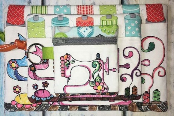Coloring Book Zipper Bag - Sewing Machine Accessories Embroidery Design By Sue O'Very Designs - Image 1