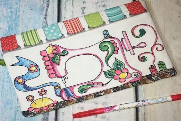 Download Free Coloring Book Zipper Bag Sewing Machine Creative Fabrica for Cricut Explore, Silhouette and other cutting machines.