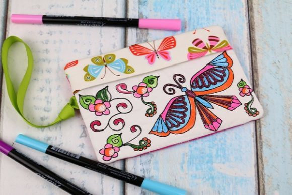 Coloring Book Zipper Bag in the Hoop - Butterfly Accessories Embroidery Design By Sookie Sews