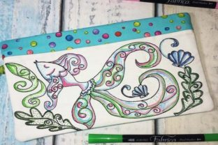 Coloring Book Zipper Bag in the Hoop - Fish Accessories Embroidery Design By Sookie Sews