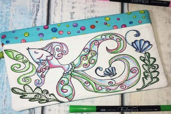Coloring Book Zipper Bag in the Hoop - Fish Accessories Embroidery Design By Sue O'Very Designs