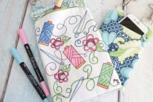 Coloring Book Zipper Bag in the Hoop - Thread Accessories Embroidery Design By Sookie Sews