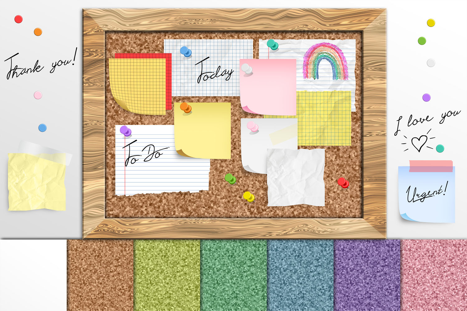 Download Free Cork Board Notes Graphic By Digital Curio Creative Fabrica for Cricut Explore, Silhouette and other cutting machines.