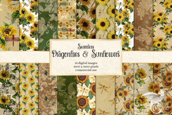 Print on Demand: Dragonflies and Sunflowers Digital Paper Graphic Patterns By Digital Curio