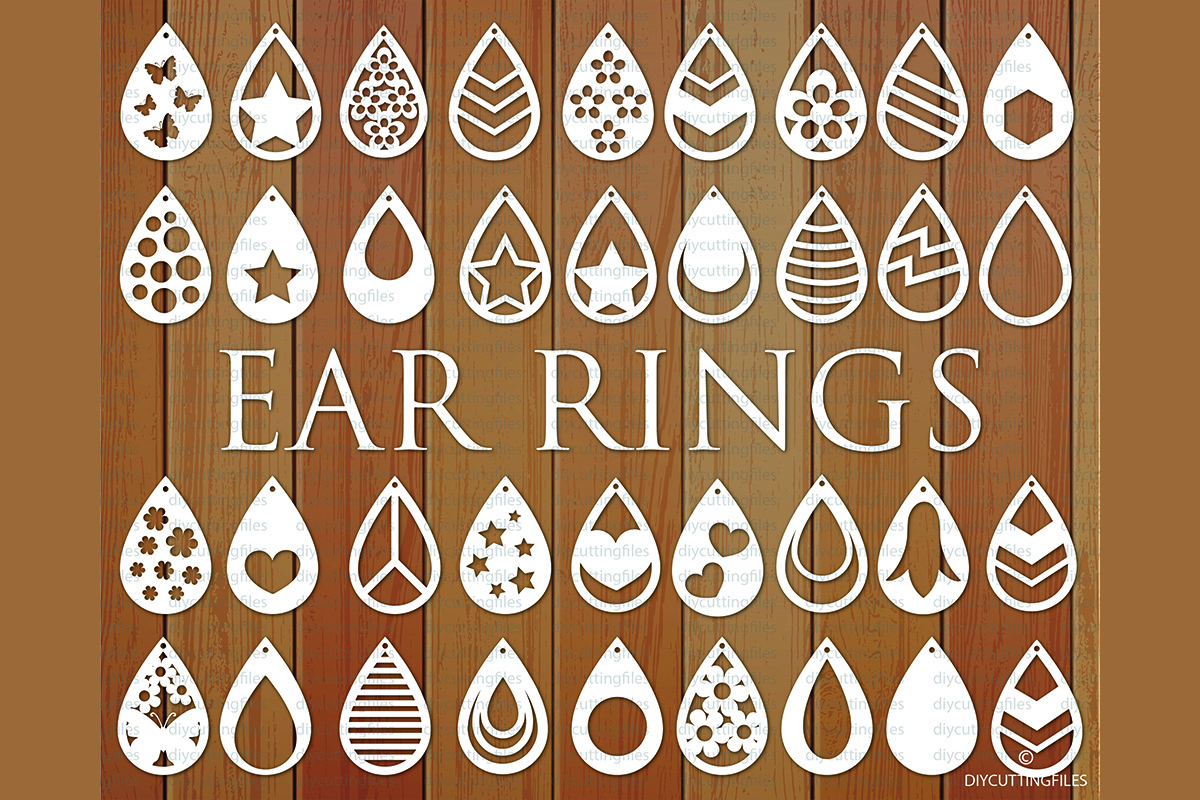 Download Free Ear Rings Bundle Cut File Templates Graphic By Diycuttingfiles for Cricut Explore, Silhouette and other cutting machines.