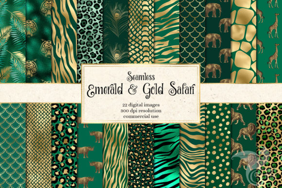 Print on Demand: Emerald and Gold Safari Digital Paper Graphic Patterns By Digital Curio