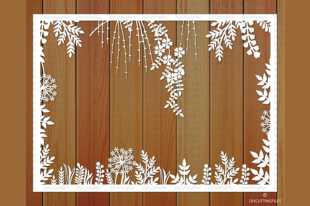 Download Free Floral Frame Paper Cut Template Graphic By Diycuttingfiles for Cricut Explore, Silhouette and other cutting machines.