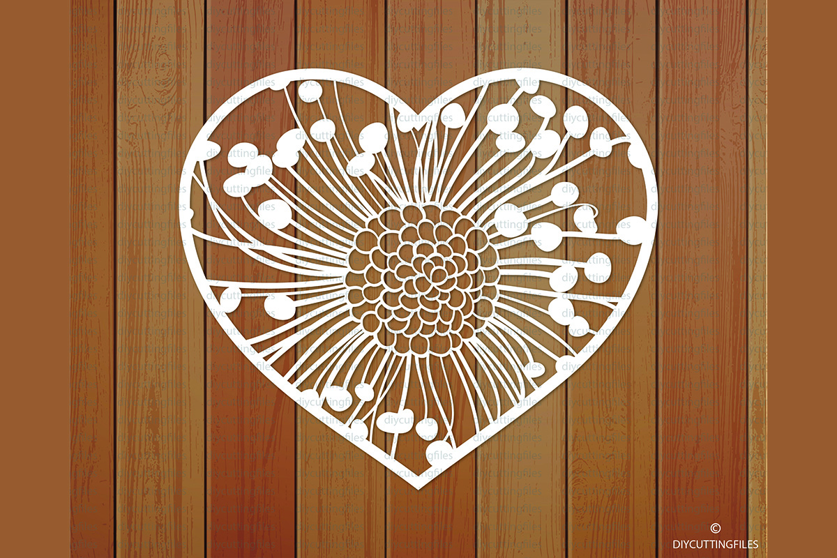 Floral Heart Paper Cut Template Graphic By Diycuttingfiles