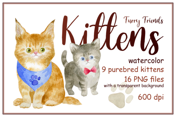 Print on Demand: Furry Friends. Kittens. Watercolor Graphic Illustrations By Olga Belova
