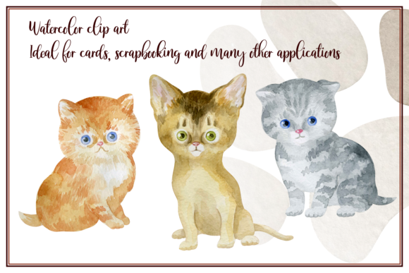 Download Free Furry Friends Kittens Watercolor Graphic By Olga Belova for Cricut Explore, Silhouette and other cutting machines.