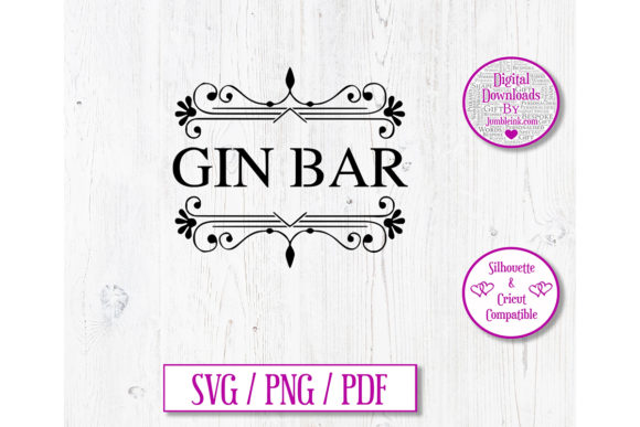 Download Free Gin Bar Decal Graphic By Jumbleink Digital Downloads Creative for Cricut Explore, Silhouette and other cutting machines.