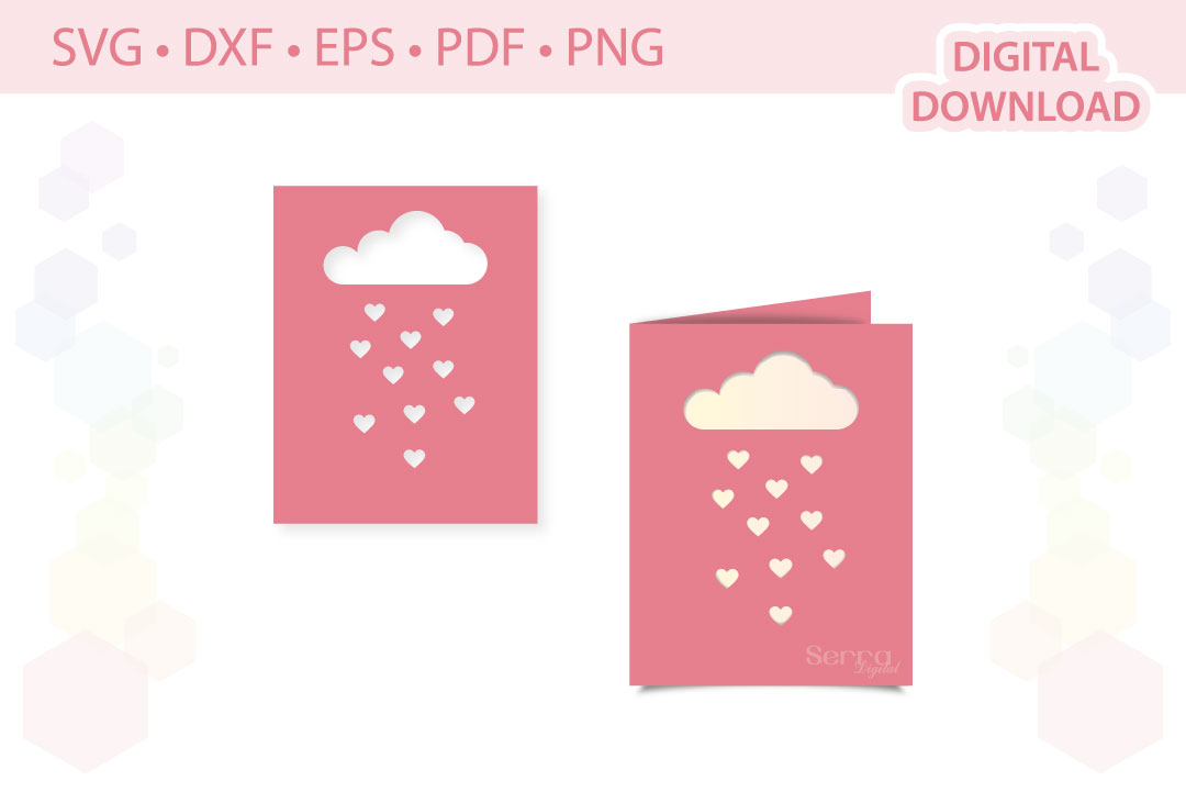 Download Free Heart Cloud Card Invitation Cut File Graphic By Serradigital for Cricut Explore, Silhouette and other cutting machines.