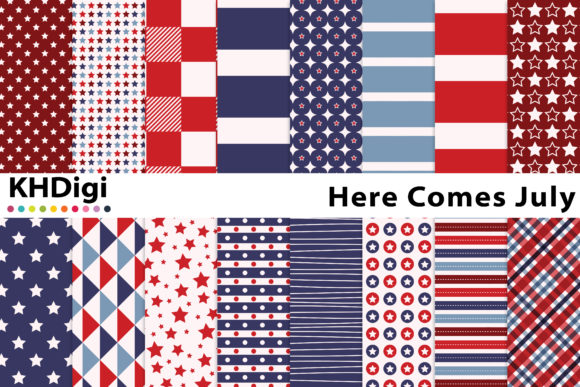 Print on Demand: Here Comes July Digital Paper Graphic Backgrounds By KHDigi