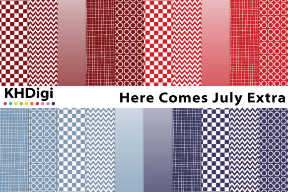 Print on Demand: Here Comes July Extra - Digital Paper Graphic Backgrounds By KHDigi