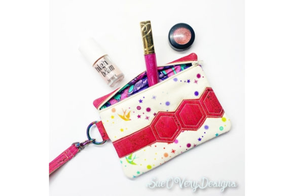 Hexi Stripe Zipper Bag in the Hoop Embroidery