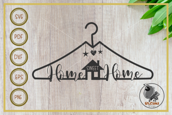 Download Free Home Home Sweet Home With Hanger Graphic By Rizuki Store for Cricut Explore, Silhouette and other cutting machines.