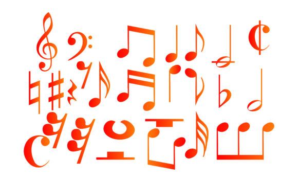 Icon Set of Musical Notes with Gradation SVG Cut Files