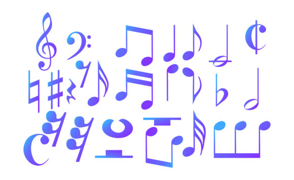 Icon Set of Musical Notes with Gradation Graphic